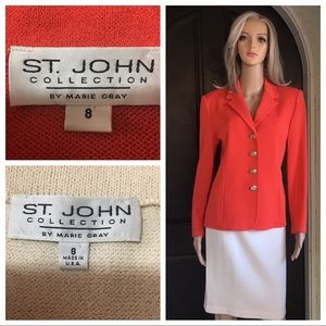 St. John collection orange/ivory jacket/skirt SZ 8